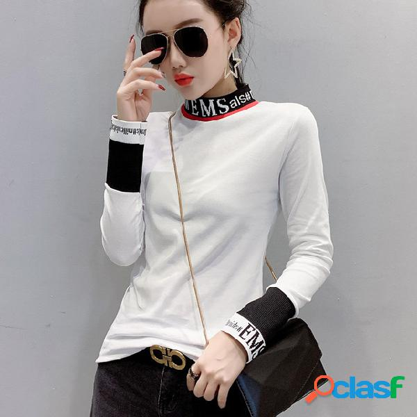 Camiseta de manga larga Hilo de coser Carta Delgado Cuello