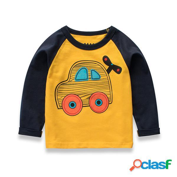Camiseta estampada de coche de manga larga para chicos