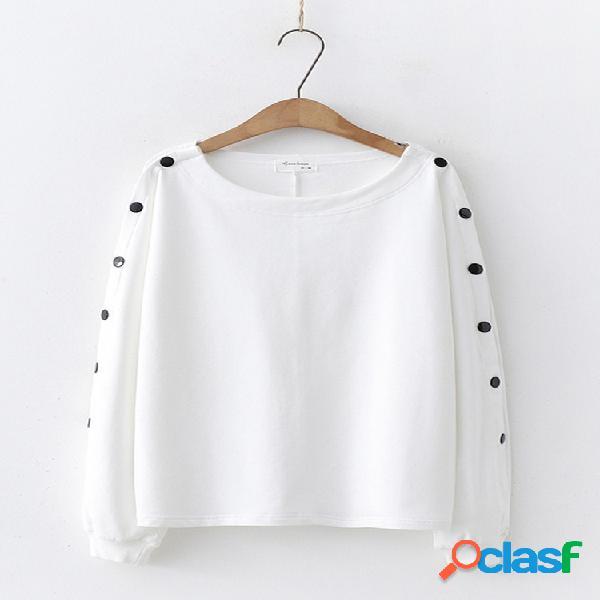 Camiseta informal de manga larga con botones en color liso