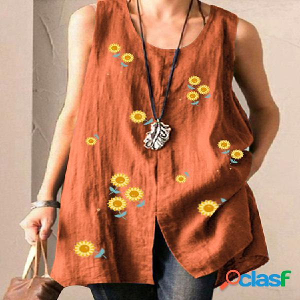 Camiseta sin mangas dividida con estampado de girasol sin
