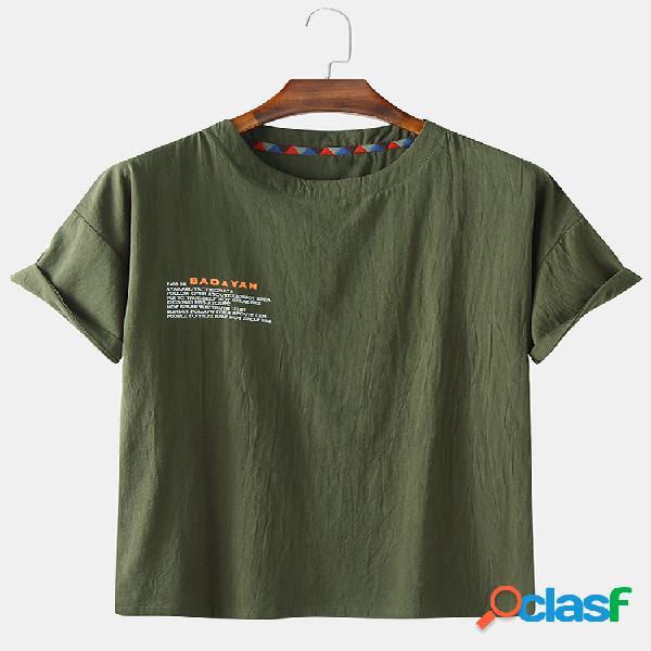 Camisetas de manga corta de lino con estampado de eslogan