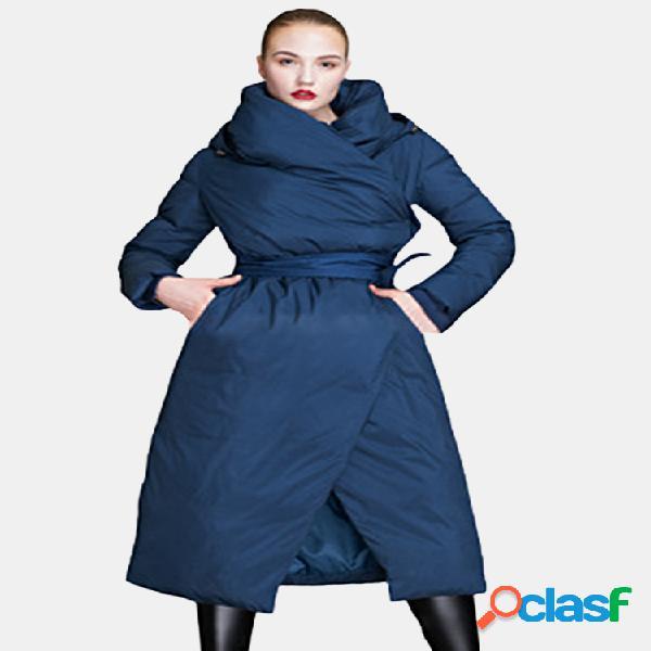 Capa larga con capucha de color sólido casual para mujer