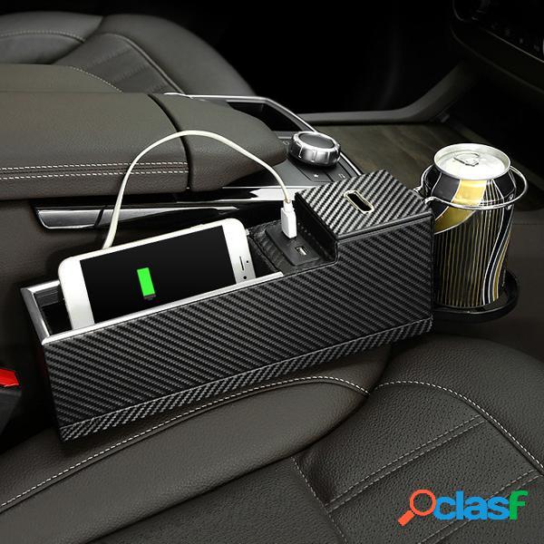 Cargador USB Asiento de coche Grieta Caja de almacenamiento