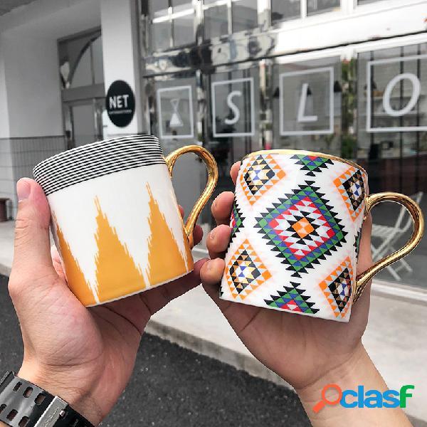 Cerámico Taza de mango dorado Taza de café, leche y agua