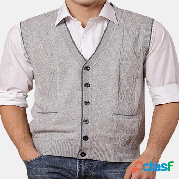 Chaleco de punto de lana con botones para hombres