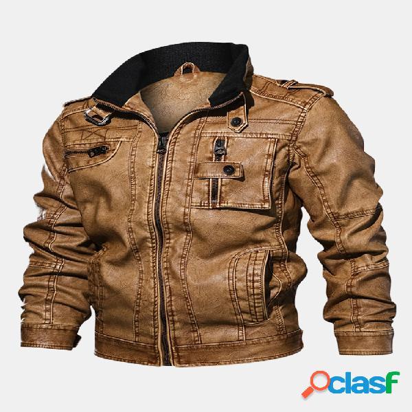 Chaqueta de cuero Moto Casual para hombre, bolsillos