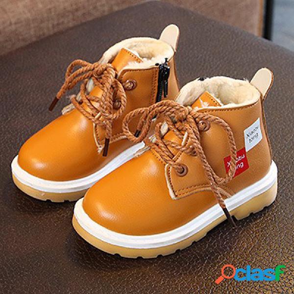 Chicos con cordones decoración botas de algodón Martin con