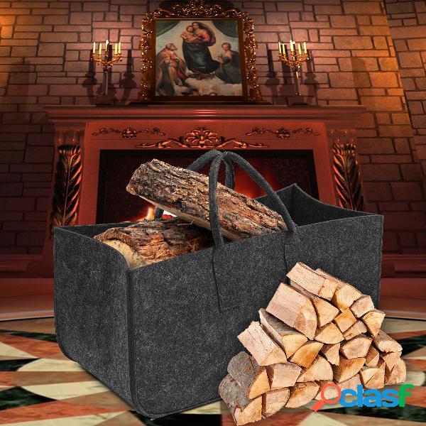 Chimenea de fieltro madera almacenamiento bolsa