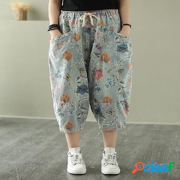 Cintura con cordón de bolsillos con estampado floral Jeans