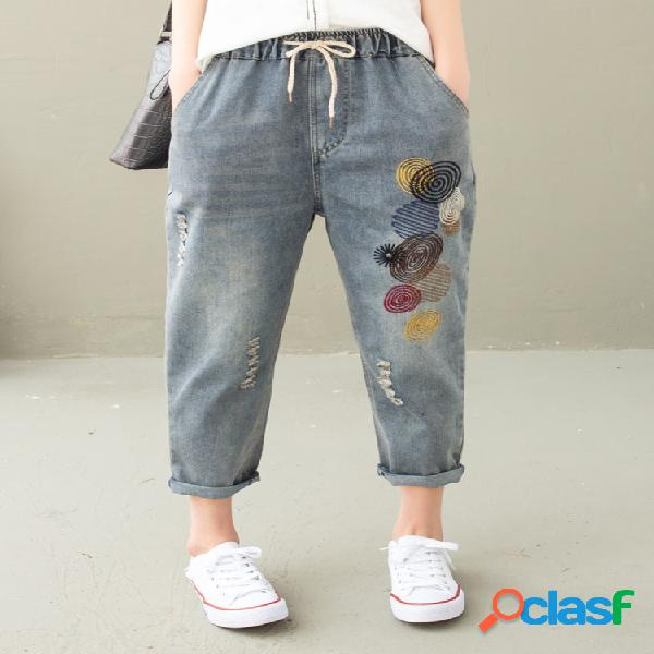 Cintura con cordón de bordado de lunares rasgada Jeans para