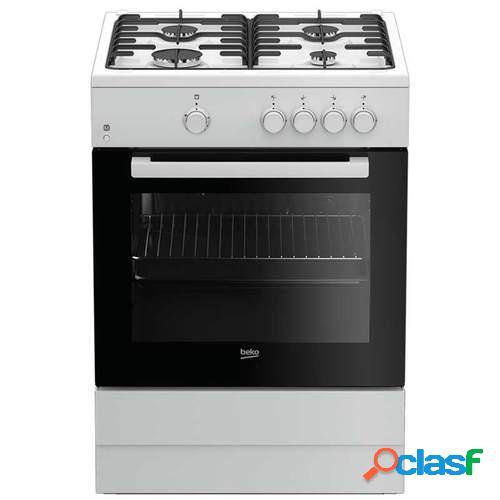 Cocina de gas Beko FSG62000DWL - 85x60cm, 4 Fuegos,