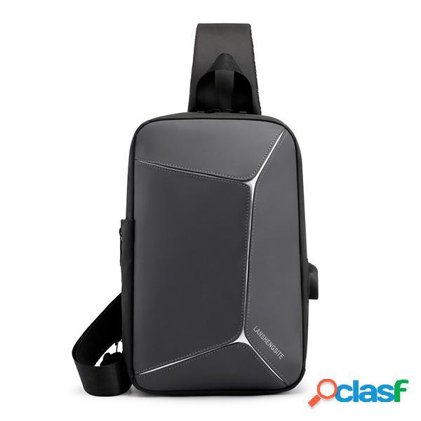 Cofre de carga USB para hombre Bolsa Travel Crossbody Bolsa