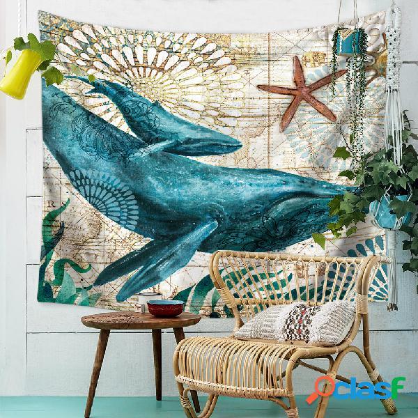 Colgante de pared de Bohemia Azul Ballena Animal Marino