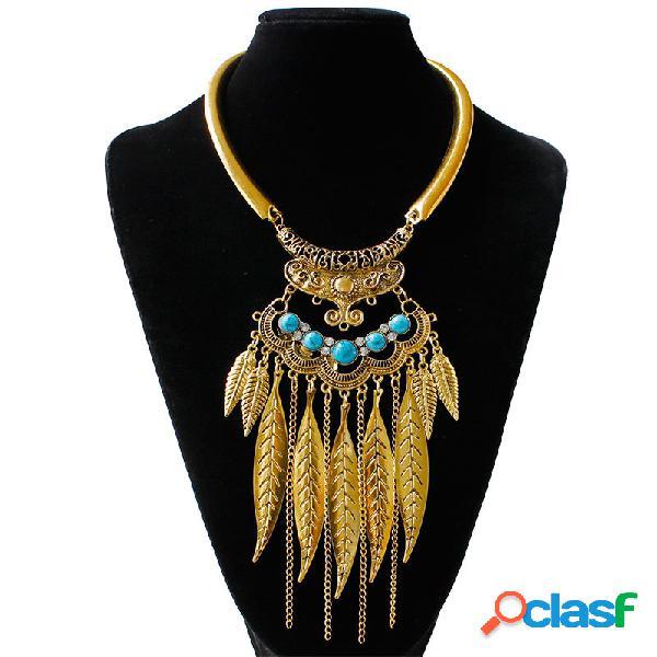 Collar Llamativo Vintage Turquesa Hojas Cadenas Borlas