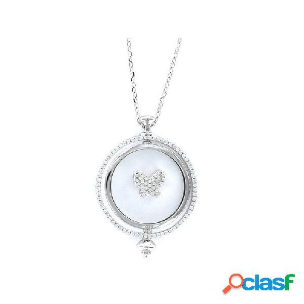 Collar Plata Mujer Doble Disco Mariposa 9101673
