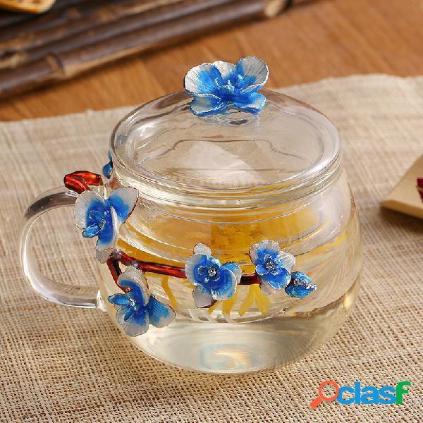 Color amarillo azul a prueba de calor de la taza de té del