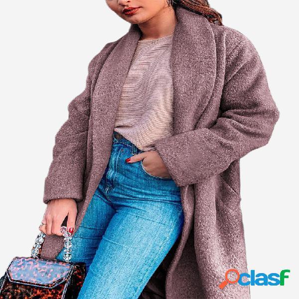 Color sólido Cuello vuelto Manga larga Mujer Abrigo de lana