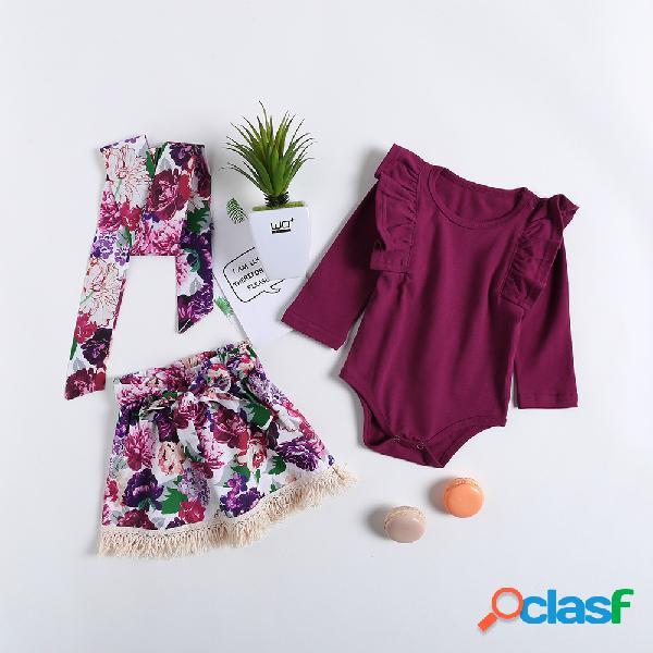 Conjunto de falda de mameluco de manga larga para bebés de