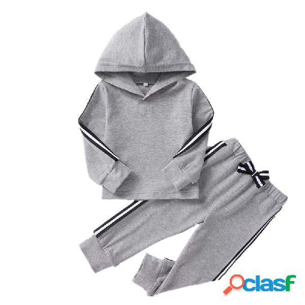 Conjunto de manga larga casual con rayas de algodón para