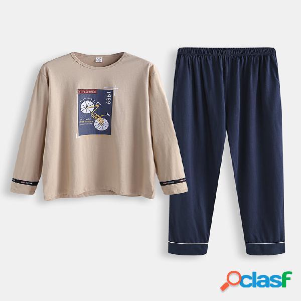 Conjunto de pijama con estampado de algodón para hombres