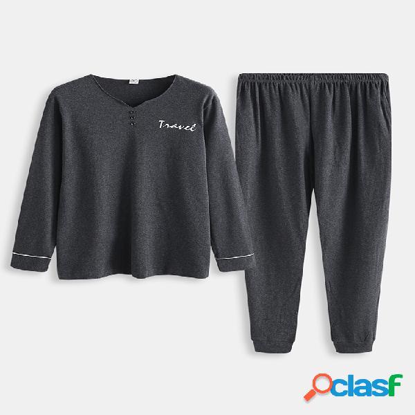 Conjunto de pijama de algodón gris para hombres, color de