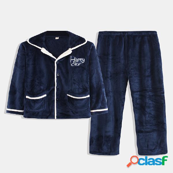 Conjunto de pijama de franela gruesa para hombre Color de