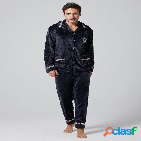 Conjunto de pijama de franela gruesa para hombre con