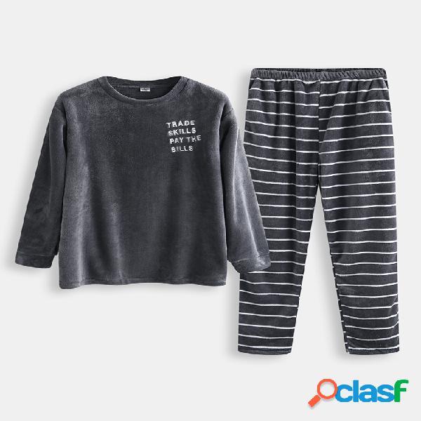 Conjunto de pijama de rayas gruesas de franela para hombre O