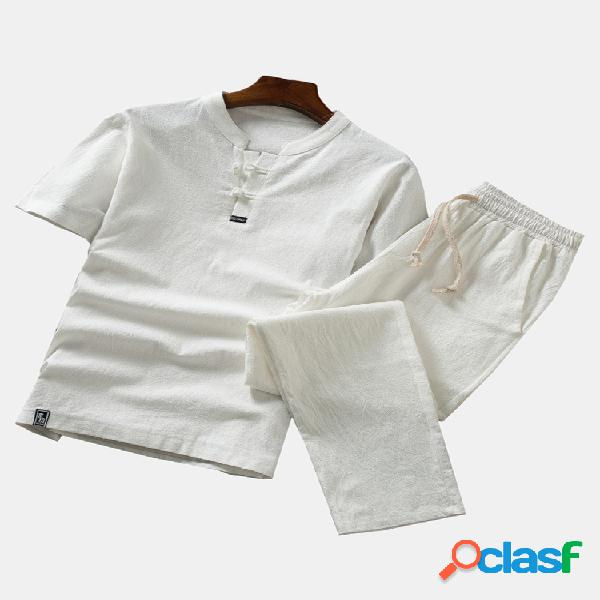 Conjunto de pijamas de lino para hombre, lino, transpirable,
