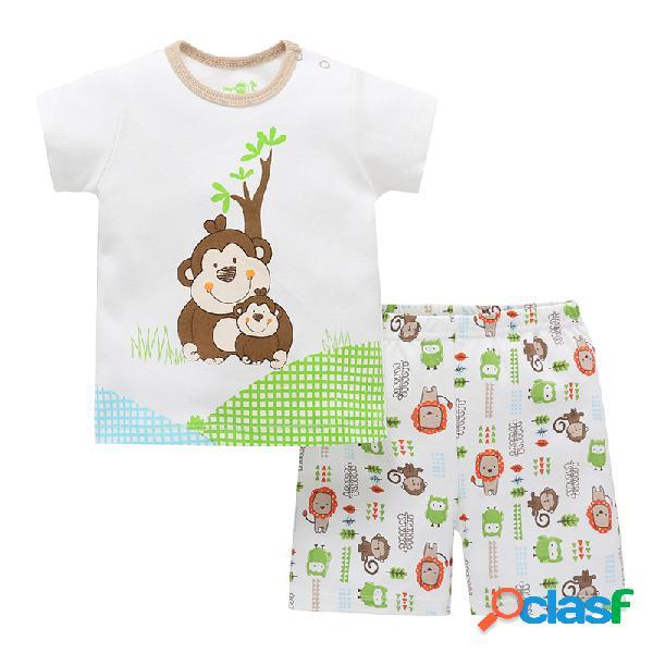 Conjunto de ropa de 2 piezas de algodón mono para niños