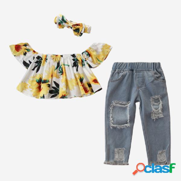 Conjunto de ropa de 3 piezas para niña con estampado de
