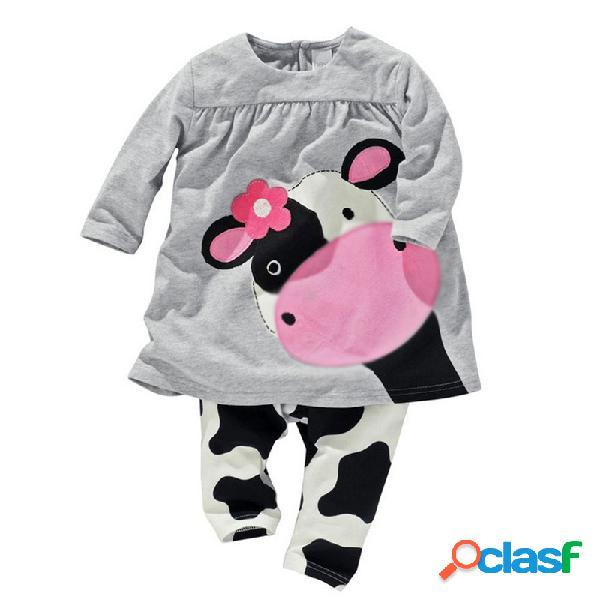 Conjunto de ropa de manga larga con estampado de vaca