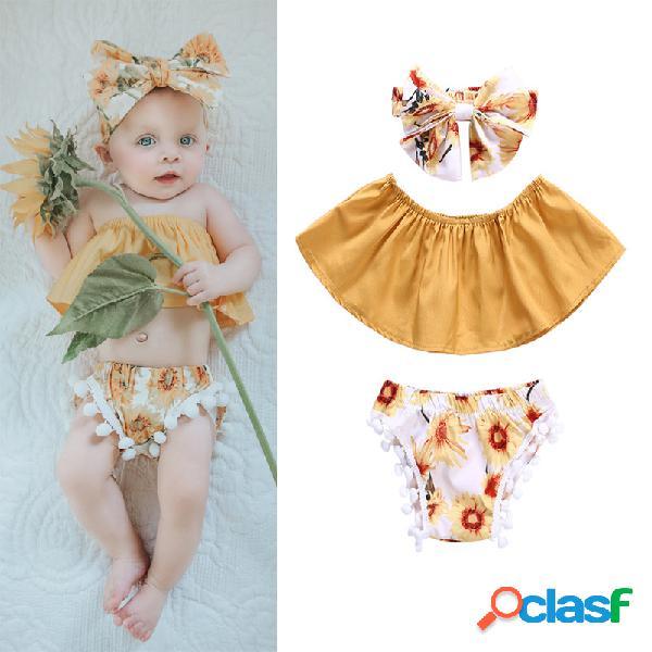 Conjunto de ropa de verano con estampado floral de 3 piezas