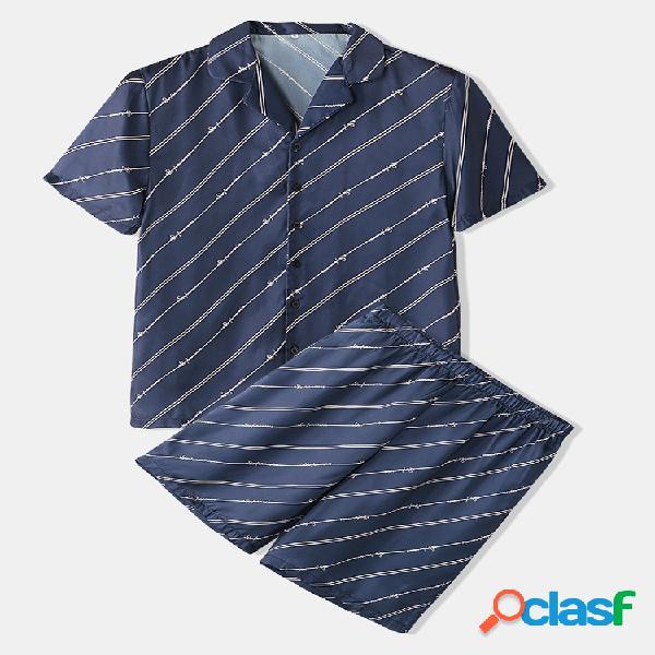 Conjuntos de pijamas de rayas azul marino Dos piezas de