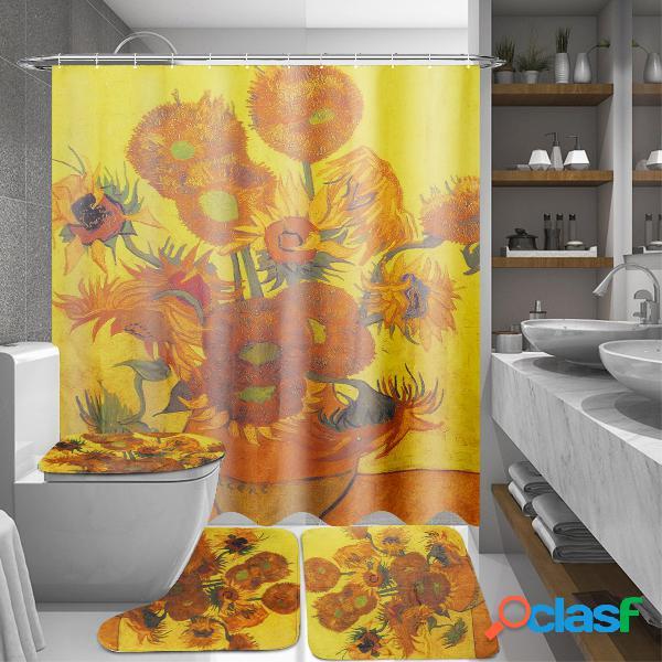 Cortinas de ducha de tela de baño de girasol de 180x180 cm