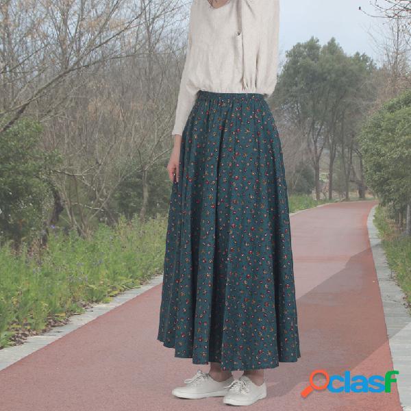 Costura de algodón y lino floral nacional viento costura
