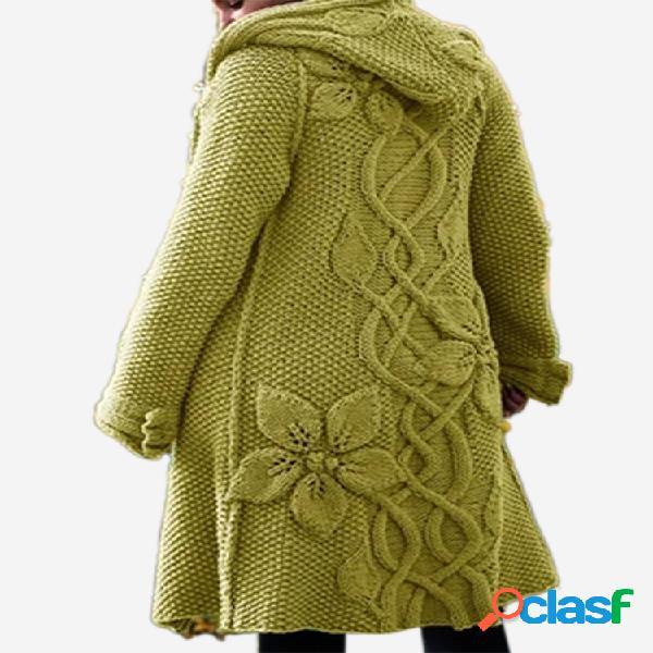 Cárdigan de manga larga de color sólido con capucha de