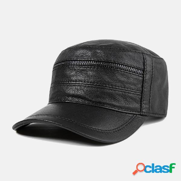 Cuero Sombrero Gorra de béisbol para hombre Piel de cabra