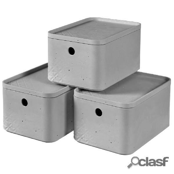 Curver Cajas de almacenaje con tapa Beton 3 unidades S gris