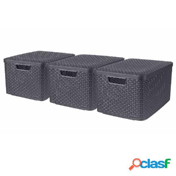 Curver Cajas de almacenaje con tapa Style 3 unidades L gris