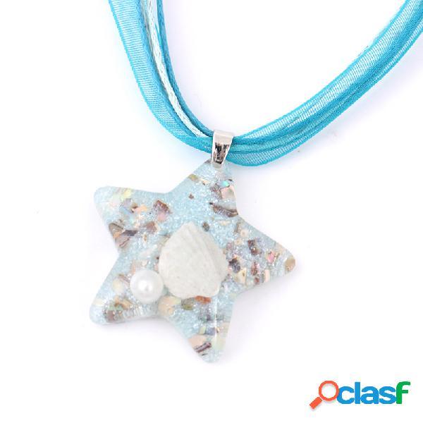 Cute Star Pendant Clavícula Collar creativo Shell Pearl
