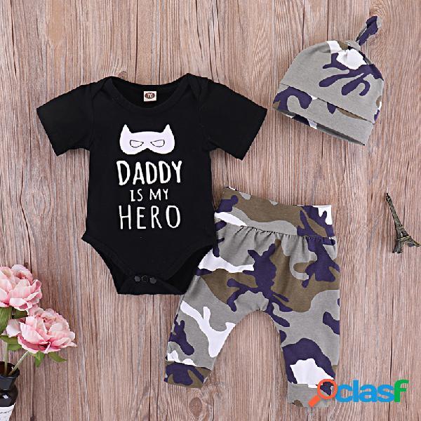 DADDY IS MY HERO Letter Print Baby 3Pcs Conjunto de ropa