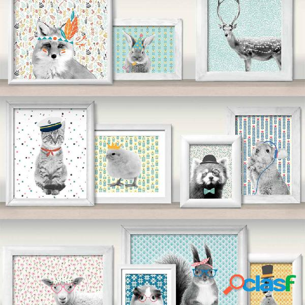 DUTCH WALLCOVERINGS Papel de pared fotos animales multicolor