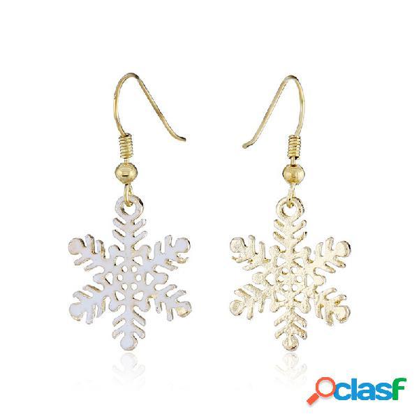 Elegante Flor de Nieve Pendientes Hallow White Drop
