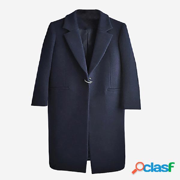 Elegante Slim manga larga azul marino otoño invierno abrigo