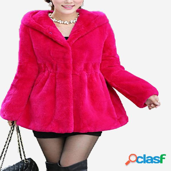 Elegante abrigo de piel sintética con capucha V-nekc