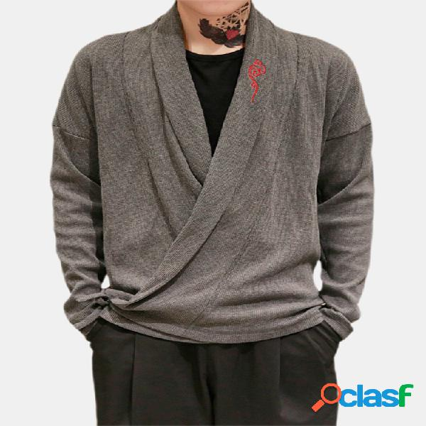 Estilo chino para hombre Bordado Tejer manga larga Otoño