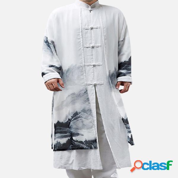 Falso de dos piezas estilo chino de algodón de lino gasa