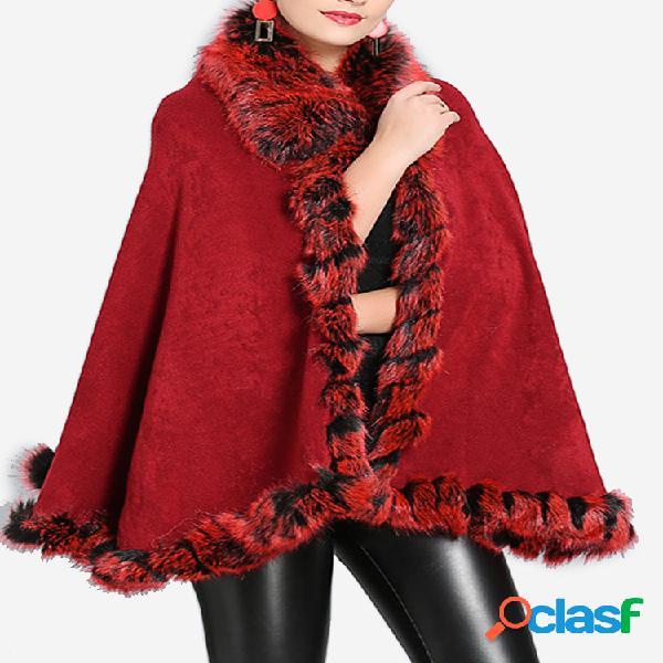 Faux Fox Fur Collar Chal de punto Otoño Invierno Abrigo