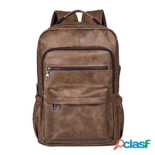 Faux Leather Laptop Bolsa mochila hombro Bolsa para hombre